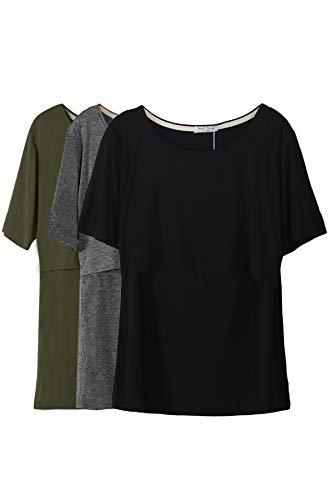 Smallshow 3 Pcs Maternity Nursing T-Shirt Nursing Tops Army Green-Black-Dim Grey Medium