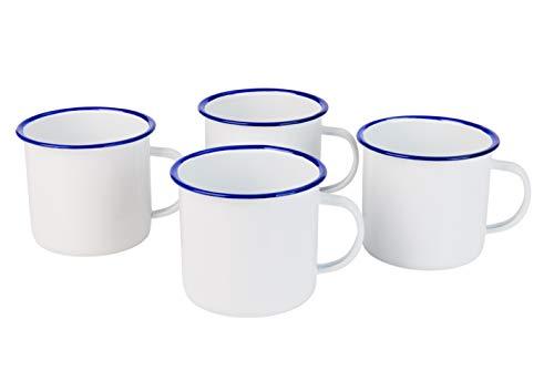 Sesua Emaille Becher Kaffeetasse Teetasse Henkelbecher 4er-Set 540ml Weiss-blau