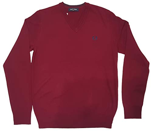 Fred Perry V Neck Jumper Sweater Dark Red k7600, Rot Medium