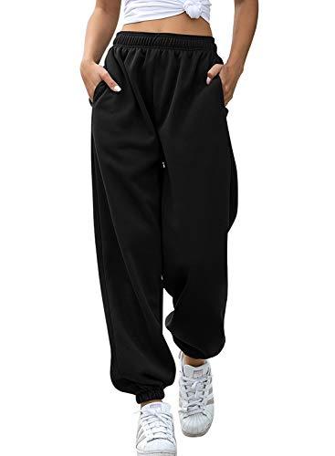 Aleumdr Pantaloni Larghi Donna Pantaloni Harem Pantaloni Hip Hop Lunghi Pantaloni Sportivi Donna Pantaloni Lunghi Casual Pantaloni Danza Pantaloni Yoga Jogging(Nero)