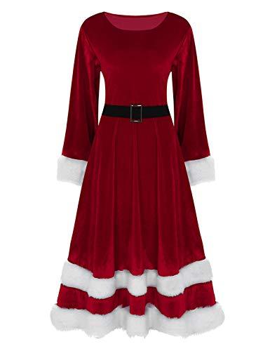 iEFiEL Weihnachten Party Kleider Damen Weihnachtsmann Kostüm Miss Santa Claus Kostüm Langarm Weihnachtskleider rotes Weihnachtsfrau Midi Kleid Rot XX-Large
