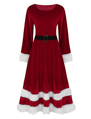 iEFiEL Weihnachten Party Kleider Damen Weihnachtsmann Kostüm Miss Santa Claus Kostüm Langarm Weihnachtskleider Weihnachtsfrau Midi Kleid Rot Medium