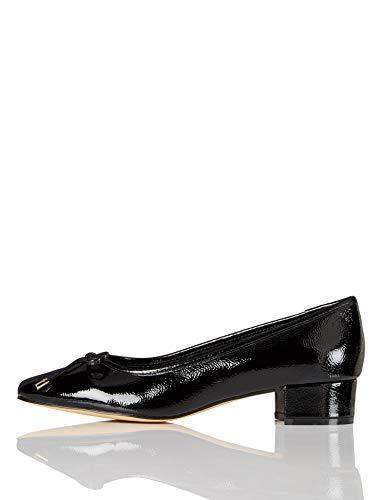Marca Amazon - find. Mini Heel Leather Ballet - Zapatos de Tacón Mujer