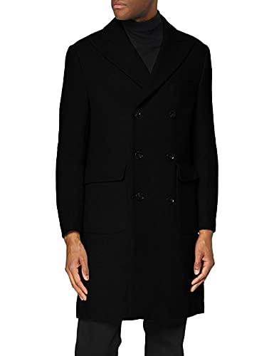 Marchio Amazon - find. Wool Mix Double Breasted Smart Giubbotto Uomo, Nero (Black), M, Label: M