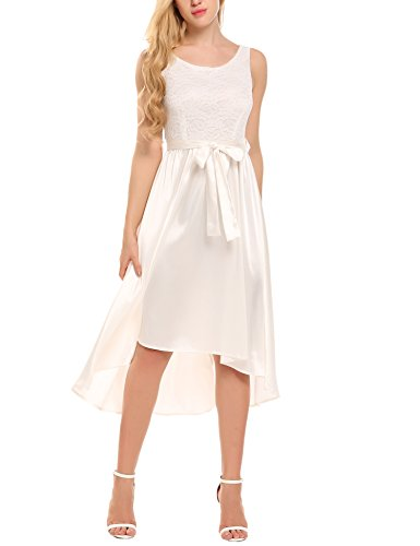 Meaneor dames kanten jurk voorzijde kort achter lang feestelijke jurken zonder mouwen partyjurk met riem (DE stok)