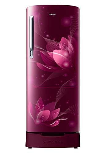Samsung 192 L 2 Star Direct Cool Single Door Refrigerator (RR20A181BR8/HL, SAFFRON RED, Base Stand...