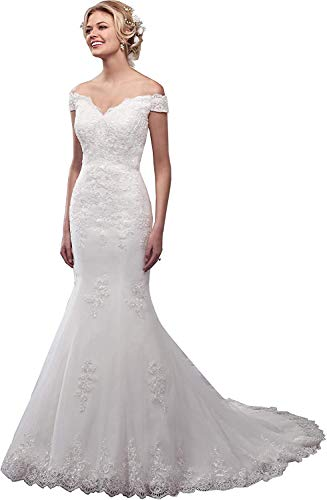 Meganbridal Vintage Women's Off Shoulder Lace Up Mermaid Wedding Dresses with Train for Bride Bridal Ball Gowns Ivory