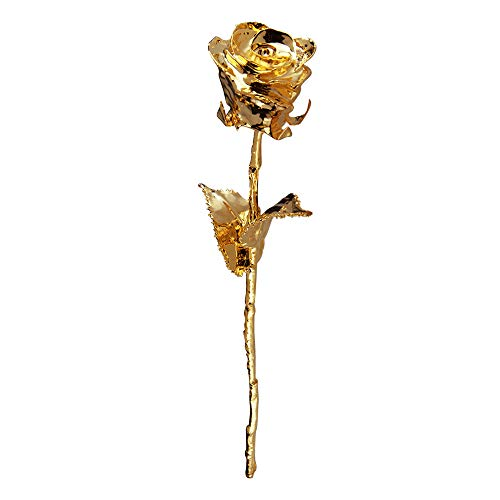 Monsterzeug Goldene Rose in edler Geschenkbox, 24 Karat Goldrose in schwarzer Geschenkverpackung, Vergoldete Rose