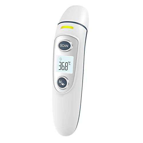 Digital Infrared Thermometer Forehead Ear - 5 in 1 Essential Thermometers. Suitable for Newborn Baby, Infant, Toddler and Adult. Get Instant Readings. FDA Approved.