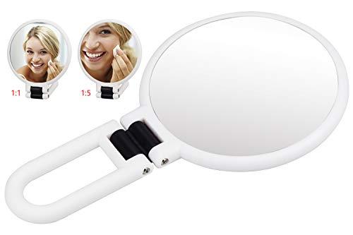 Specchio Portatile Trucco Bifacciale, Specchio Ingranditore Viaggio 5X con Rotazione a 360° e ø13.5cm per Depilazione e Rimozione di Punti Neri