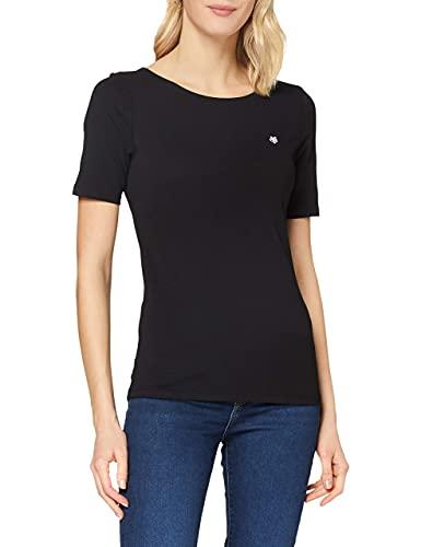 Damen T-Shirt mit kleinem Logo-Print, bequemes Oberteil aus Bio Baumwolle, elegantes und Kurzarmshirt für Frauen