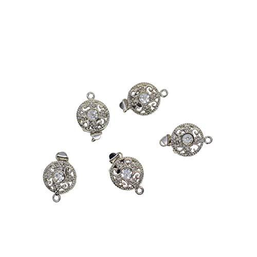 Baoblaze 5X Chiusura dei Gioielli Connettore Floreale con Strass Accessori per Collana Che Fa Il Braccialetto - Argento