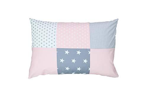ULLENBOOM ® Baby Patchwork Kissen 40x60 cm Rosa Grau (Made in EU) - mit weichem Bezug & Füllung, ideal als Kinderkissen, Dekokissen im Kinderzimmer oder zur Deko im Wohnzimmer