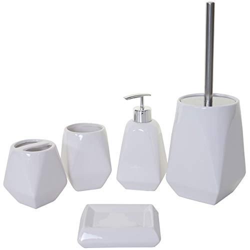 Mendler Set Accessori da Bagno HWC-C71 Ceramica Bianco