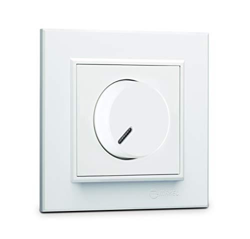 Karea Dimmer, voor NV-lampen met elektronische transformator (faseuitsnijding) + frame, VDE-gecertificeerd, inbouw, in wit