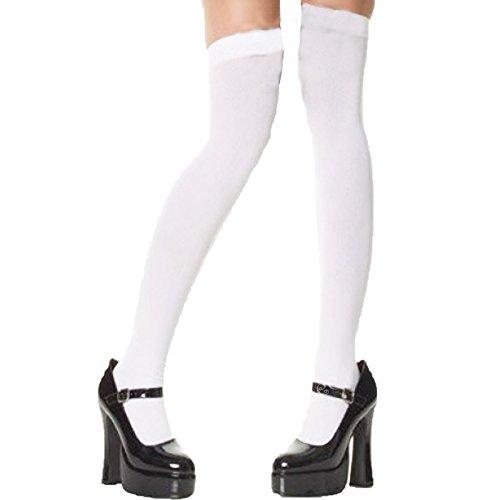 Yummy Bee - Bas Autofixant Opaques Femme - Chaussettes Hautes Déguisement - Écolière Blanc - Gothique Noir (Blanc)