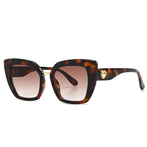 YANPAN Coole Persönlichkeit Großen Rahmen Wunderschöne Rote Herz Verschönerte Sonnenbrille Frauen Modetrend Outdoor Street Shooting Sonnenbrille C4 Leopardenmuster Tee