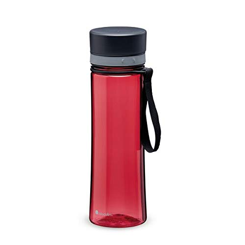 Aladdin Aveo Water Bottle 0.6L Cherry Red Leakproof - Wide Opening for Easy Fill - BPA-Free - Smooth Drinking Spout - Stain and Smell Resistant - Dishwasher Safe