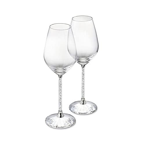 RichAmazon 2 piezas de cristal de cristal de cristal de la boda de la taza de cristal de lujo del partido de la tostada cristal del taladro