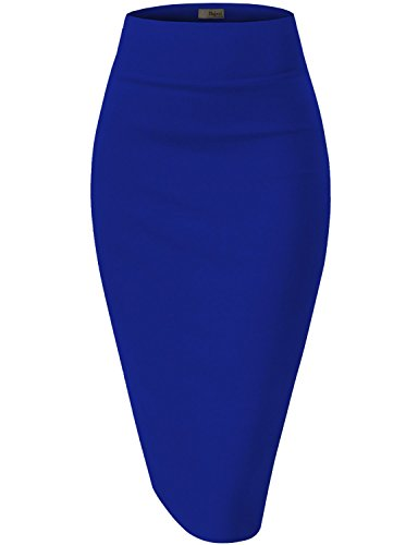 Womens Premium Stretch Office Pencil Skirt KSK45002 Royal XLarge