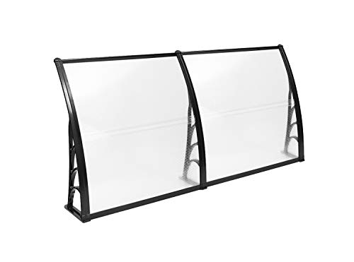 "Mcombo 40"" 80"" Window Awning Outdoor Polycarbonate Front Door Patio Cover Garden Canopy 4080, Black"