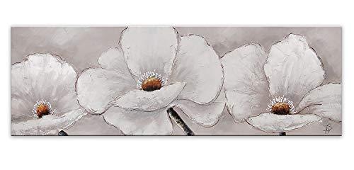 ADM Fiori Bianchi Quadro, Dipinto a Mano Floreale Moderno su Tela Montato su Telaio estetico Alto AS306X1