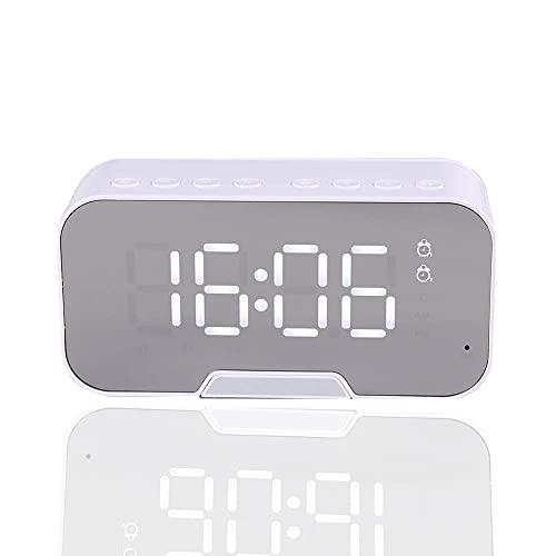 Radio Reloj Despertador,FM con Temporizador de Apagado,Puertos USB Dobles para Carga,alarmas Dobles,Pantalla Digital con atenuador, repetición,Micrófono,Volumen Ajustable