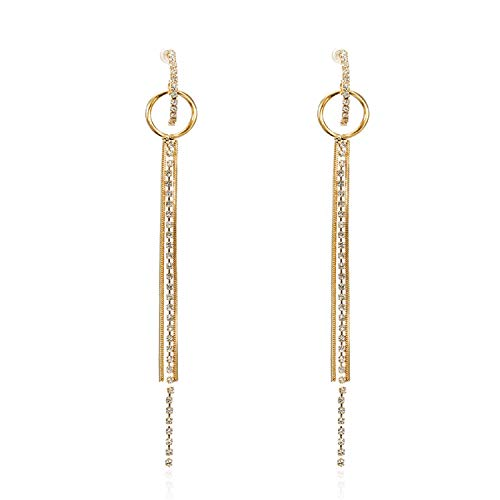 Presock Pendientes Mujer,Aretes New Fashion Golden Silver Plated Dangle Hanging Black Rhinestone Long Drop Earrings For Women Jewelry Brincos Bijoux ez109