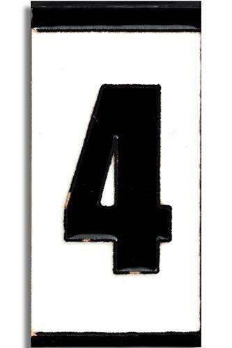 TORO DEL ORO Números casa exterior - Placa Puerta - Cerámica esmaltada - Pintados a Mano con la técnica de la cuerda seca - Nombres y direcciones - Modelo Polo 5,5 cms x 10,5 cms (Número Cuatro'4')