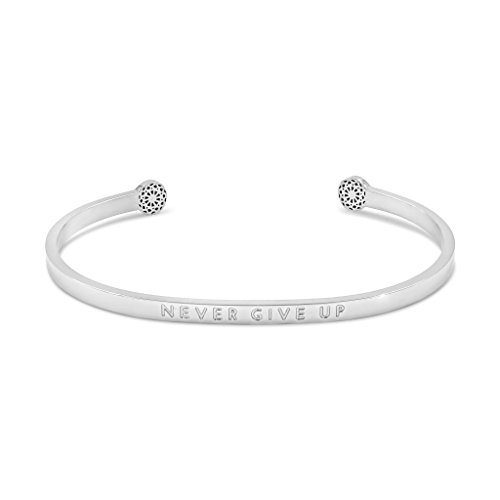 Simple Pledge - Never Give Up - Blind - Armreif in Silber mit Gravur für Damen