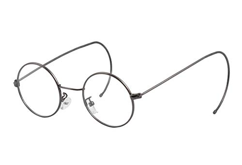 Agstum Retro Round Optical Rare Wire Rim Glasses Frame (Grey, 43)