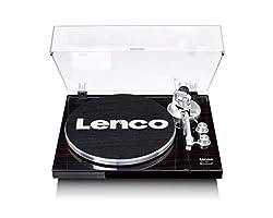 Lenco LBT-188 Plattenspieler - Bluetooth Plattenspieler - Riemenantrieb - 2 Geschwindigkeiten 33 u. 45 U/min - Anti-Skating - Vinyl zu MP3 digitalisieren - Dunkelbraun, LBT-188 WA, Wallnuss