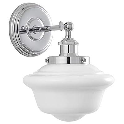 Lavagna 1 Light Bathroom Vanity Chrome with Milk Glass Linea di Liara LL-WL271-MILK-PC