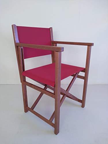 SILLAS MENORCA AUTHENTISCHER MENORQUINISCHER Stuhl - Directors Stuhl - KLAPPBARSTUHL IN Holz für TERRASSE und Garten in Brandy HOLZFARBENTONE und ACRYLSTOFFE in ROTER Farbe