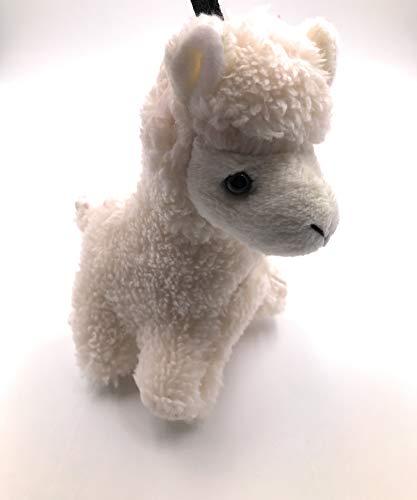 Onwomania Plüsch / Kuschel / Stoff Tier Schlüsselanhänger Alpaka weiß stehend Pako 20 cm