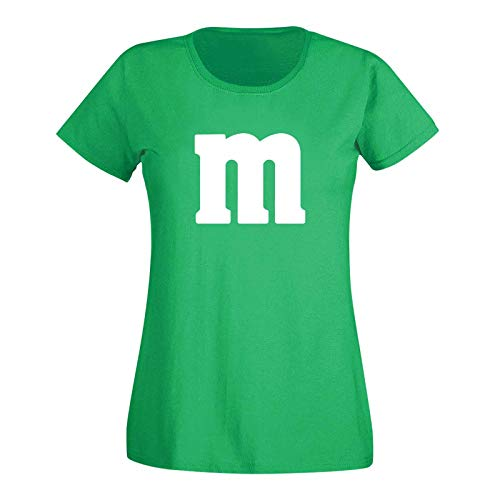 T-Shirt M&M Schoko-Linse Gruppenkostüm Karneval Fasching 15 Farben Damen XS-3XL M's Fans Ms Krümelmonster Darts Tanzgruppe Mottoparty, Größenauswahl:XS, Farbe:grün/Kelly - Logo Weiss