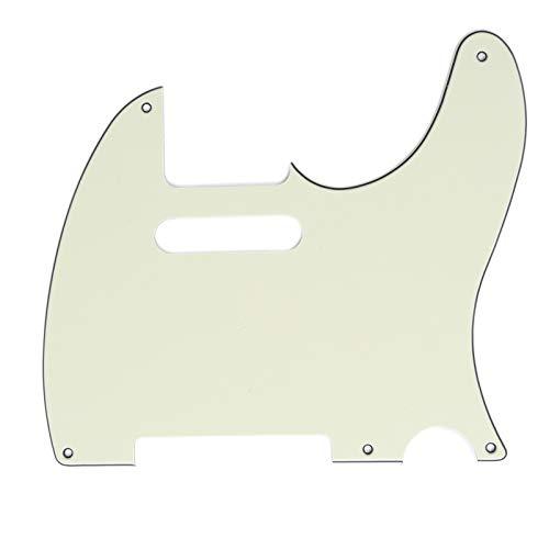 Musiclily Pro 5 Löcher Tele Pickguard Gitarren Schlagbrett für American Stratocaster Telecaster Style, 3 lagig Elfenbein