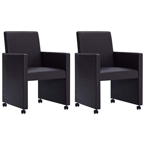 Festnight Esszimmerstühle 2 STK. | Modern Esszimmer Stuhl | Küchenstuhl mit Rollen | Kunstlederstuhl | Essstühle | Braun Kunstleder 58,5 x 65 x 88 cm