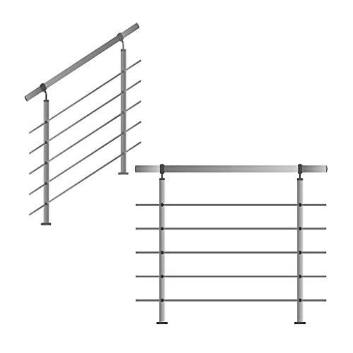 Roestvrij stalen leuning, relingen voor trappen, balustrade, balkon met/zonder dwarsbalken Tot 4.0m incl. 5 palen 5 dwarsstangen