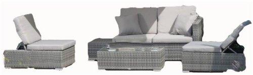 Vamundo Lounge Groupe de Table, canapé, 2 fauteuils en rotin avec Coussins Gris foncé