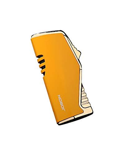 【WDMART】 葉巻 用ライター ガスライター メタルライター 充填式ライター 注入式ライター トリプル ターボ ジェット ライター 残余ガス可視化 葉巻パンチ付き 誕生日プレゼント(ガスを含んでいません) (イエロー)