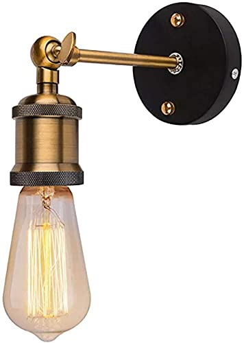 ZNMY Lámpara de Pared Vintage Cabeza de Cobre Lámpara de Pared Industrial Cabeza de luz de latón Retro Ajustable de Metal con Enchufe E27 para el hogar, restaurantes, Clubes