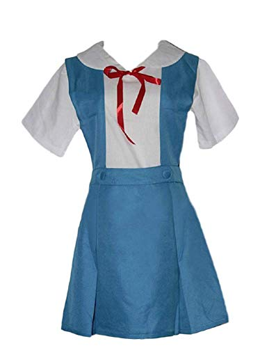 GK-O Anime Evangelion Rei Asuka School Uniform Cosplay Costume Blue Green