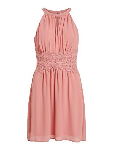 VILA CLOTHES Damen Kleid VIMILINA Halterneck Dress, Rosa (Brandied Apricot), (Herstellergröße: 40)