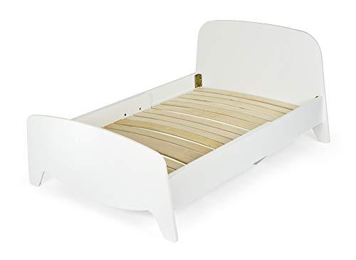 Leomark Blanco Cama con regulación del largo - Sophia - Marco de Cama en el estilo escandinavo, Moderno Dormitorio para Niños, 3 ajustes de longitud, Espacio para Dormir: 200/90 cm (Solo, sin colchón)