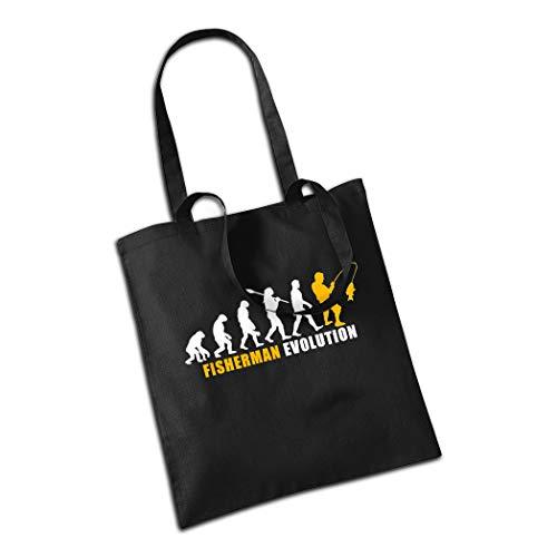 CALWDOMN Jutebeutel Fisherman Evolution Einkaufstasche Stoffbeutel mit Langen Henkeln Angeln Lustiges Geschenk für Männer Angeltasche (Schwarz)
