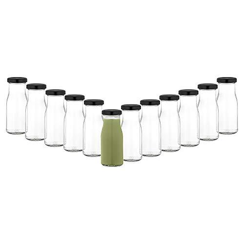 MamboCat 12er Set Saftflaschen 156ml + Twist-Off Deckel TO43 schwarz I Leere Flaschen zum Befüllen I Weithalsflasche zum Einkochen I Einmachflaschen Milchflaschen I Glasflaschen luftdicht 2