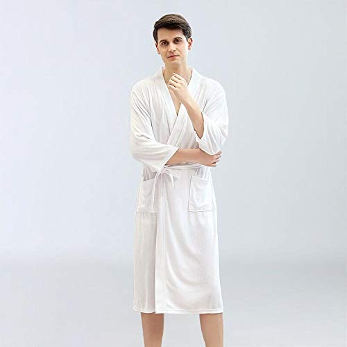 BKHBJ YUP Herren-Kimono-Bademantel, weich, dünn, für Herren, Übergröße 3XL, Schlafanzug, für Hotel und Männer, weiches Geschenk zum Duschen, weiß, M