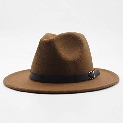 Invierno Otoo Mujeres Hombres Seoras Fedoras Top Jazz Hat Gorras Redondas Bombines-Light brown-1-size59-61cm