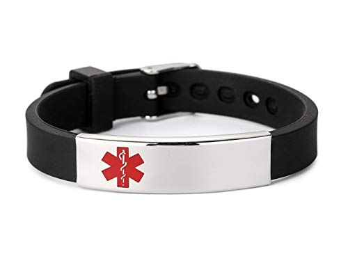Buy Bargain BAIYI Silicone Bracelet Medical Alert ID for Men and Women Adjustable Size (Free Engravi...